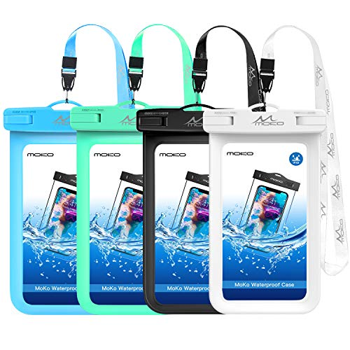 MoKo Waterproof Phone Pouch [4 Pack], Underwater Phone Case Dry Bag with Lanyard Compatible with iPhone 11/11 Pro/11 Pro Max, X/Xs/Xr/Xs Max, 8/7 Plus, Galaxy S10/S9/S8 Plus, S10e, S20, Note 10/9/8