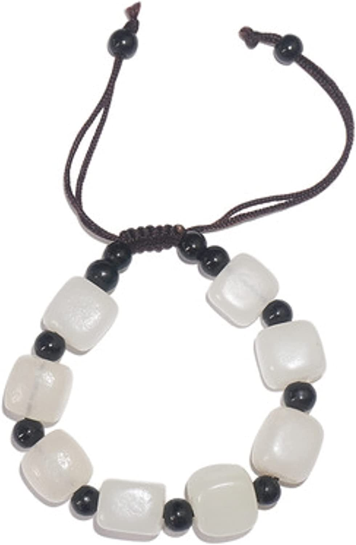 PKSANIT White Jade Small Square Dealing full price reduction Bracelet Stone Ja Natural Dallas Mall