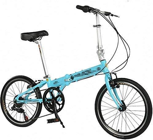 CXY-JOEL Bicicleta Plegable Niños Adultos Ultraligero Mini Bicicleta Portátil de Viaje Adecuado para Andar en la Ciudad Bicicletas para Hombres (Color: Azul, Tamaño: 20 Pulgadas),Azul,20In