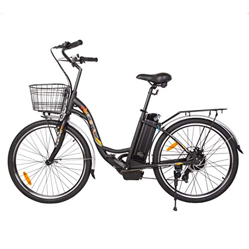 ECOTRIC 26' Electric Bicycle 350W Motor 36V/10AH Powerful Moped Throttle & Pedal Assist City Tire Bike W/Basket - You Will Receive (2) Packages (Black)