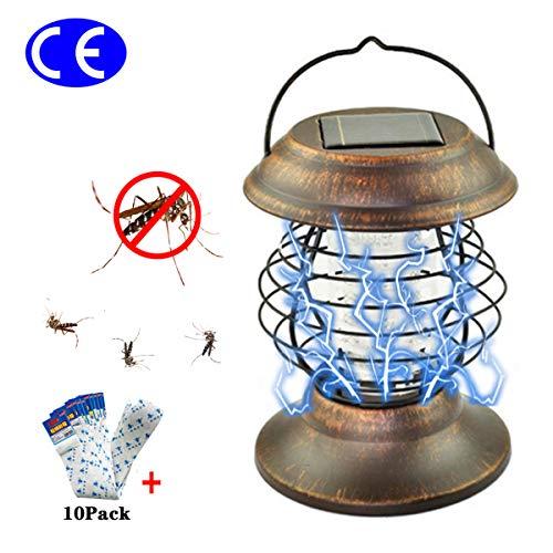 TIANXIAWUDI Insektenvernichter Solar-Campingleuchte 2 in 1Fliegenfänger led Licht,Tragbare LED Mückenlampe gegen Moskitos Mückenfalle Killer Elektrischer Insektenfalle für Außeneinsatz/Ohne Batterie