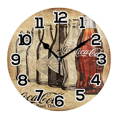 Coca Cola The Real Thing Tin Clock Wall Decor Acrylic Decorative Round Battery Operated Wall Clocks for Home Bedroom Living Room Decor Silent Non Ticking