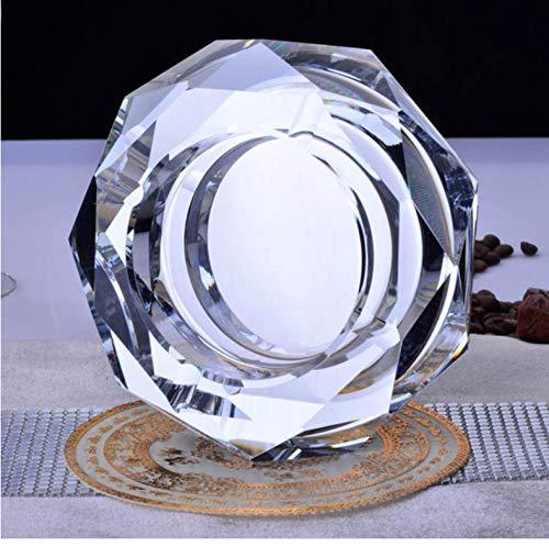 XXYMCB Posacenere in Cristallo Rotondo Trasparente Nero posacenere in Cristallo colorato 12 cm per Regalo Fidanzato Decorazioni per la casa-Chiaro