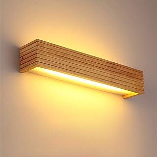 Lámpara de pared LED de madera Luz cálida, Nordic Rayas Lámpara de madera maciza Dormitorio Cabecera Baño Espejo rectangular Faros Iluminación para el hogar Aplique de pared de estilo japonés Accesori