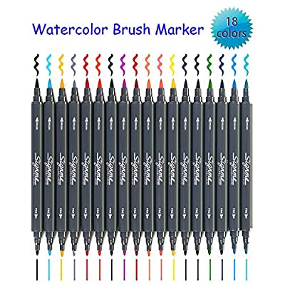 Solitary Walker Signme Art and Graphic Drawing Manga Water Based Ink Twin Tip Dual Nip Brush Sketch Marker Pen 12 18 24 Colors /SET