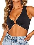 Crop Tops for Women Plunging Neckline Crop Top with Golden Ring Centrepiece (S, Black Crop top)