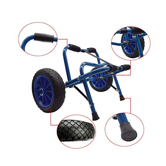 Newcod kayak cart kayak trolley carrier dolly trailer for canoe boat with no-flat airless tires wheels 2 【good quality】22x1. 5mm aluminum tube with rubber pads. 【pu wheel】with two pu solid wheels, don't need to inflate. 【capacity】this kayak cart can be loaded 165lbs.