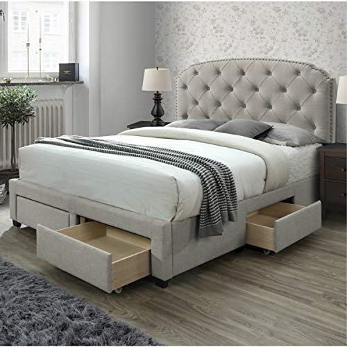 DG Casa Argo Tufted Upholstered Panel Storage Bed, King in Beige Fabric