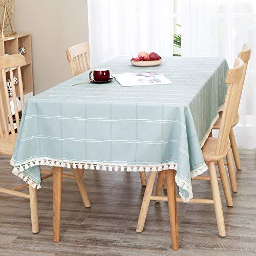 Deconovo Tischdecke Wasserabweisend Tischwäsche Lotuseffekt Abwasserbar mit Quaste Küche 137x274 cm Himmelblau