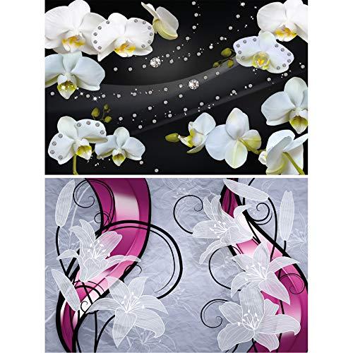 GREAT ART 2er Set XXL Poster – Blumen Grafik – Orchidee & Lilie Diamanten Schwarz Weiss Pink Blumen Zimmer-Pflanzen Blüten Wand-Bild Dekoration Fotoposter Wanddeko (140 x 100cm)