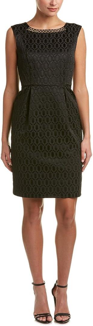 ELLEN TRACY Women's Jacquard Sheath Dress with Neckline Embellishment