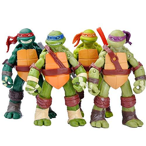 ZHAOHUIFANG Teenage Mutant Ninja Turtle Toys Set Of 4,Teenage Mutant Ninja Turtle Action Figures ,Detachable Weapons,Children's Birthday Collection