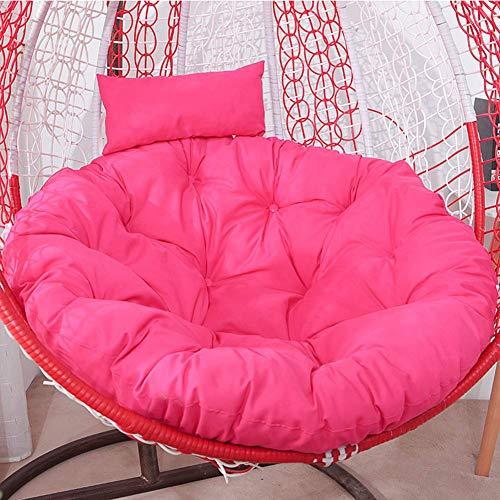 WBDZ Überfülltes Schaukelstuhlkissen, abnehmbares Papasan Stuhlkissen, Dickes hängendes Ei Hängemattenstuhlkissen mit Kopfkissen für Patio Garden Rose Red 125x125cm