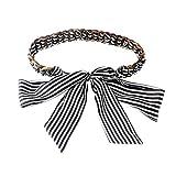 Porbbow Bufanda colorida cinturón tejido ancho decorativo vestido de mujer Cintura jeans cinturón accesorios NegroBlancoStripes