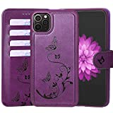 WaterFox Case for iPhone 11 Pro Max Leather Case with 2 in 1 Detachable Cover, Women's Embossed Pattern with 4 Card Slots & Wrist Strap Case - Purple