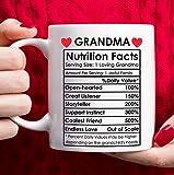 Mothers Day Gifts for Grandma, Best Grandma Gifts, Birthday Gifts for Grandma Coffee Mug, Funny Nutrition Facts Grandma Mug, Christmas Gifts for Grandma – White, 11oz