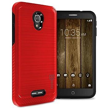 Alcatel Fierce 4 Hard Case Alcatel One Touch Allura Case Alcatel Pop 4 Plus Case CoverON [Chrome Series] Hard Faux Brushed Metal Protective Hybrid Phone Cover Case - Red