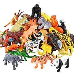 Image: Animals Figure, 54 Piece Mini Jungle Animals Toys Set, ValeforToy Realistic Wild Vinyl Plastic Animal Learning Party Favors Toys For Boys Girls Kids Toddlers Forest Small Animals Playset Cupcake Topper