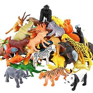Animals Figure,54 Piece Mini Jungle Animals Toys Set,ValeforToy Realistic Wild Vinyl Plastic Animal Learning Party…