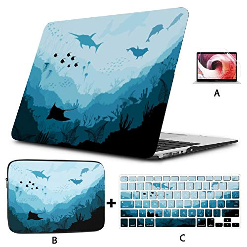 4 in 1 Laptop Case for Mac Book 16' Pro Touch Bar 2019 A2141 Hard Shell Cover,SleeveCase,Keyboard Cover,Screen Protector,Underwater Wildlife Scat Shark Dolphins