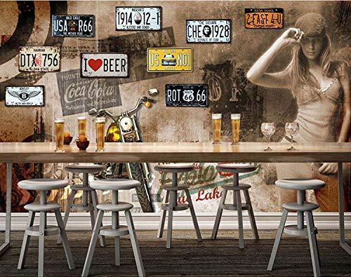 WLPBH zelfklevende 3D muurschildering retro motorfiets merk behang jongen kamer decoratie kinderen 3D foto muurschildering prinses muur schilderij slaapkamer kinderkamer muur kunst decoratie achtergrond behang 250x175 cm (WxH) 5 stripes - self-adhesive