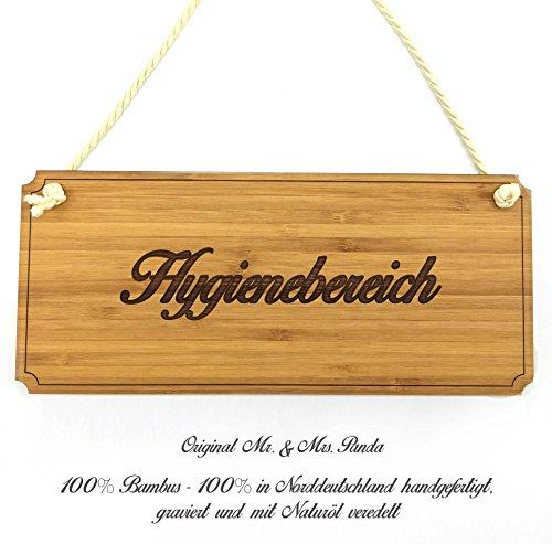 Mr. & Mrs. Panda Türschild Hygienebereich Classic Schild - 100% handgefertigt aus Bambus Holz - Schild Türschild Wandschild Wanddeko Deko Wanddeko Geschenk Hinweisschild Hinweis