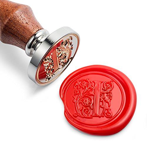 Mceal Wax zegel stempel, zilver messing hoofd met houten handvat, normale letter A naar Z-serie
