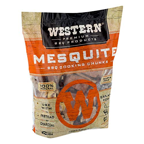 WESTERN Premium BBQ Bagged and Heat Treated Wood Cooking Chunks, for Charcoal or Gas Grills and Smokers, Mesquite Flavor, 1.3 Cubic Feet