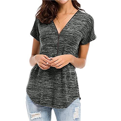 Camiseta de mujer para verano, con cremallera, cuello en V, monocromo, manga corta, transpirable, nueva 2020,...