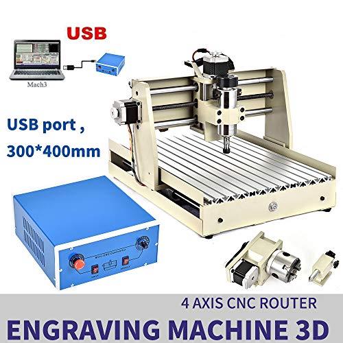 Máquina de grabado de 4 ejes CNC 3040, máquina de grabado VFD, USB router 3D Engraver Milling Tool molinillo fresador
