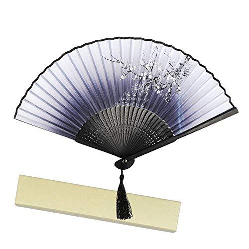 EWUEJNK Handfächer aus Bambus und Seide Chinesisch Faltfächer Klappfächer Vintage Stil,Chinesischer Damen Handfächer mit Geschenkbox Blumen Stoff Fächer
