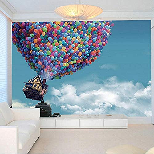 Fotobehang 3D Muurschilderingen Hot Air Wallpaper Blauwe Ballon Hemel Wit Wolken Achtergrond Grote Muur Schilderen Woonkamer Behang Grijs Muursticker Border Zelfklevende Baksteen Badkamer (W)150cm×(h)105cm