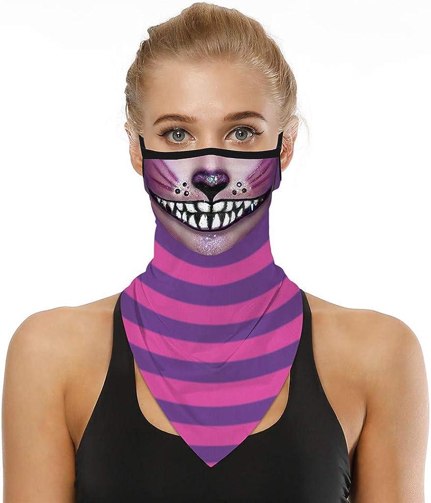 Unisex Seamless Triangle Face_Mask Bandana Neck Gaiter Tube Cover, Reusable Washable Cloth Ear Loops Balaclava