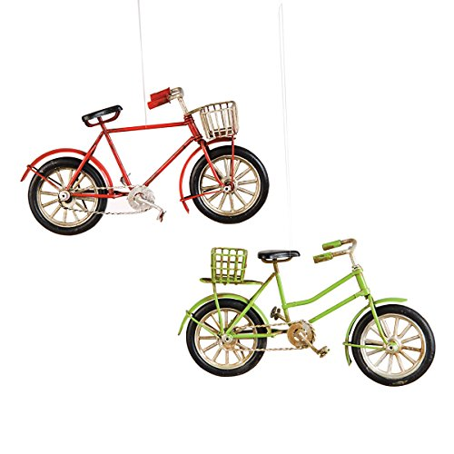 C&F Metal Red and Green Bicycle with Basket Christmas Xmas Ornament A/2 Red