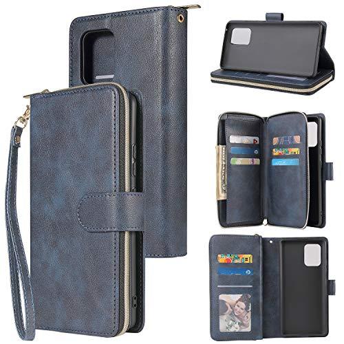 nancencen Handyhülle Kompatibel mit Samsung Galaxy S10 Lite 2020/A91, Lederhülle Flip Cover Brieftasche Hülle Kreditkartenschlitz (9 Karten) für Samsung Galaxy A91/M80S Schutzhülle -Blau