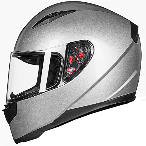 ILM Full Face Motorcycle Street Bike Helmet with Removable Winter Neck Scarf + 2 Visors DOT (XL, Silver)