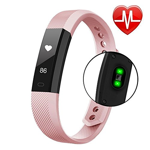 BACAKSY Fitness Tracker Smart Watch con Battito Cardiaco Monitor Step Tracker contacalorie chiamate, SMS, Whatsapp, Touch Screen Wristband Activity Tracker pedometro per iOS Android Phone-Black