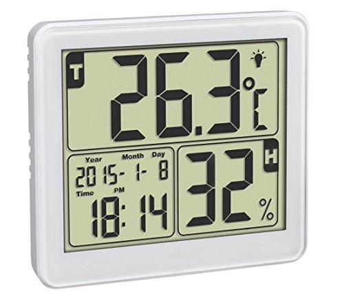 TFA Dostmann Digitales Thermo-Hygrometer, für ein gesundes Raumklima, Höchst- und Tiefstwerte, Uhrzeit, Datum, Wochentag