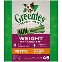 Contains one (1) 27 oz. 45-count pack of GREENIES Weight Management Petite Natural Dental Dog Treats; Natural Dog Treats Plus Vitamins, Minerals and Other Nutrients The unique texture of GREENIES Dog Chews cleans down to the gumline to fight plaque a...