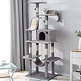 PURLOVE Arbre à chat 170 cm avec plateformes d'observation douillettes, colonnes recouvertes de sisal naturel, arbre à chat avec griffoirs en sisal multi-plateforme et grotte (gris clair)