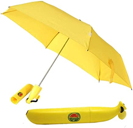 Clomana® Yellow Stylish Banana Shaped Mini Foldable Umbrella for Women (Pack of 1)