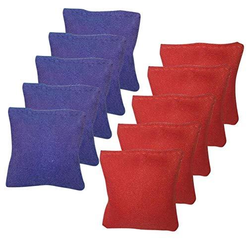 Dinapy 10 Bean Bags, Cornhole Bean Bag Set, 5 Rote Und 5 Blaue Cornhole Säckchen, Wurfspiel, Cornhole, Geschicklichkeitsspiel, Indoor & Outdoor