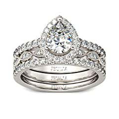 ☀Design features:This halo pear cut diamond engagement ring with lovely look showcases apear-cut center stone wrapped in a frame of rounds stones. On your special day, apair of coordinating wedding bands - one decorated with marquise-shaped designs w...