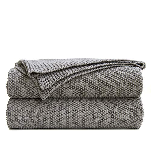 Longhui bedding Medium Grey Cotton Cable Knit Throw Blanket for Couch Sofa Bed, Home Decorative Throws, Large Woven Throw Blankets, Gray 3.5 Pounds 60 x 80 Inch