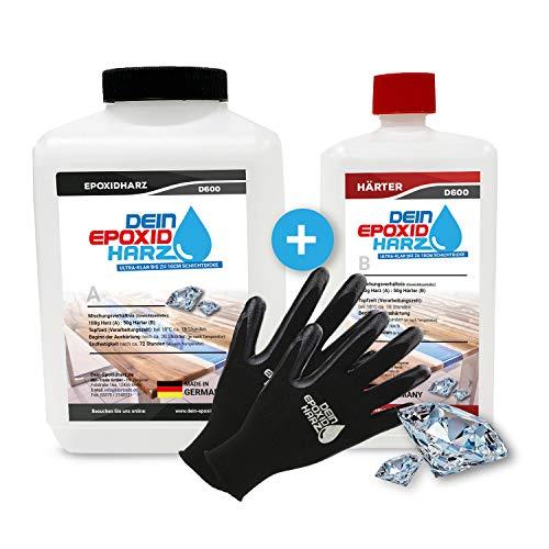 Dickschicht - Epoxidharz mit Härter   2,25kg Set   Profi Qualität, ultraklar & geruchsarm   10cm in einem Guß + Schutzhandschuhe