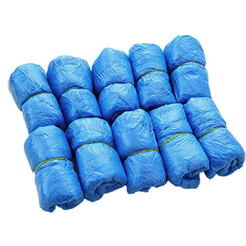 FATTERYU 100 Stück Medizinische wasserdichte Überschuhe aus Kunststoff Einweg-Schuhe, Überschuhe