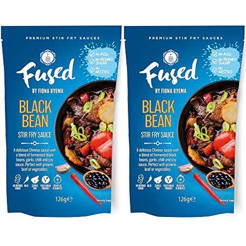 Schwarze Bohnen Sauce / Black Bean Sauce von Fused - China Soße aus fermentierten Bohnen und Soja Sauce - Milde Schärfe - Ohne Glutamat und Zusatzstoffe - 2 x 126ml für jeweils 2 Portionen