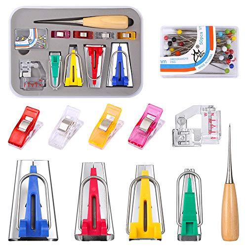 Fabricantes de cintas al sesgo - Kit para hacer cinta al bies con 4 tamaños 6MM 12MM 18MM 25MM Clips de encuadernación ajustables, 1 punzón de coser, 1 prensa de pie y 50 agujas