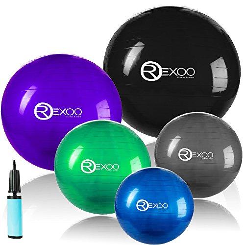 REXOO Robuster Gymnastikball Fitnessball Sitzball Balanceball Sportball Pumpe in verschiedenen Größen und Farben, Farben:Grün, Größen:85cm (Körpergröße ab ca. 188cm)