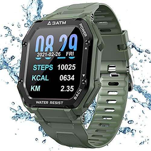 KOSPET Rock Smart Watch mit Wasserdichtem 3ATM, 1,69 Zoll Sportuhr mit Blutdruck, Herzfrequenz Messgerät, Schrittzähler Aktivitäts Tracker, 14 Tage+ Spielzeit Outdoor Smartwatch für Herren (Grün)